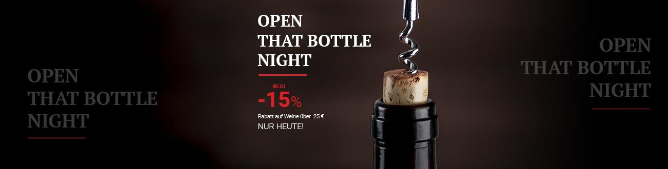 Open That Bottle Night! Bis zu 15% Rabatt auf Weine über 25 €