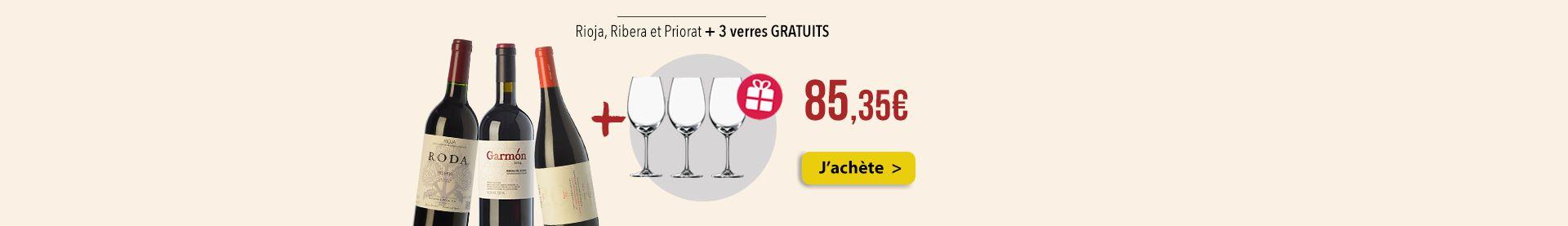 Rioja, Ribera et Priorat + 3 verres GRATUITS