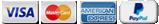 Pago con Visa, MasterCard, American Express y Paypal