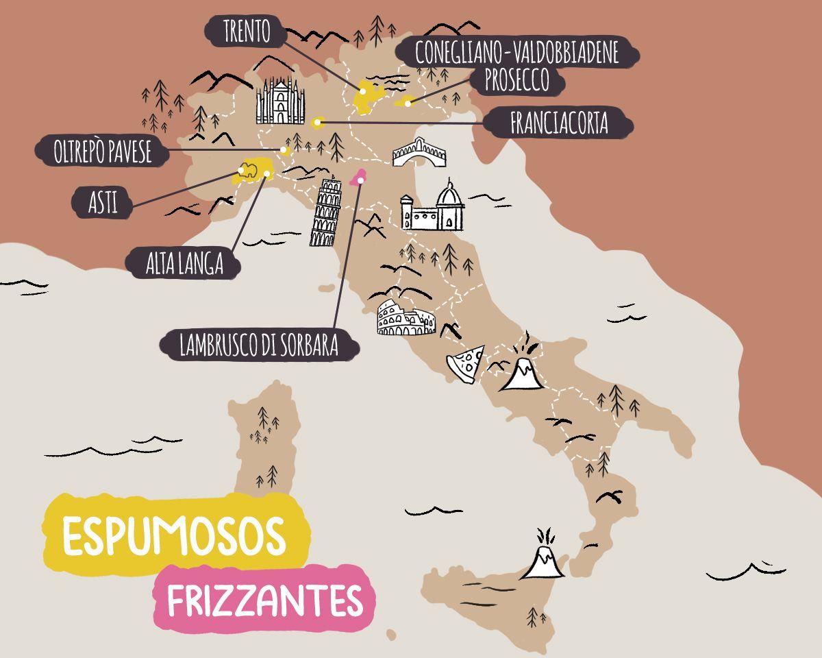 Mapa ilustrado de las principales denominaciones de vino espumoso y frizzante italiano