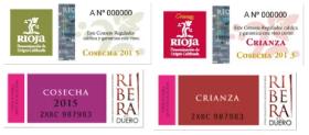 Etiquetas traseras vinos tintos crianza