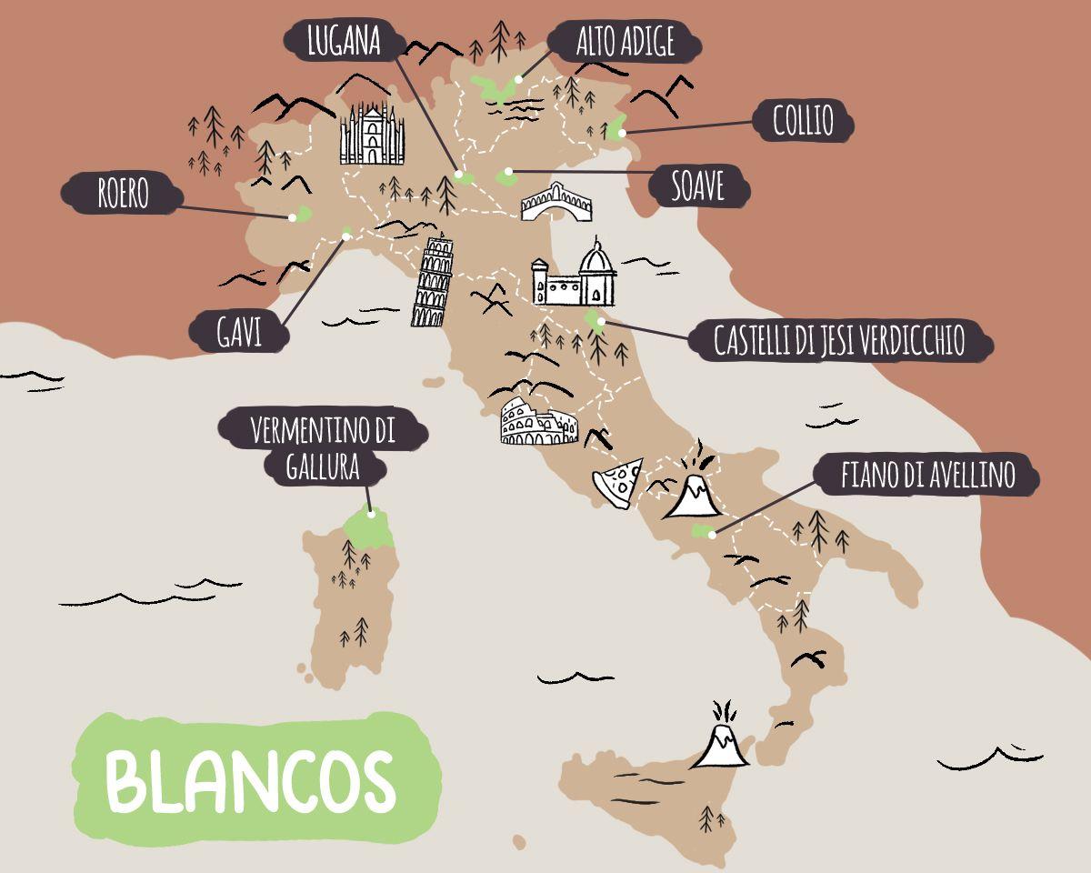 Mapa ilustrado de las principales denominaciones de vino blanco italiano