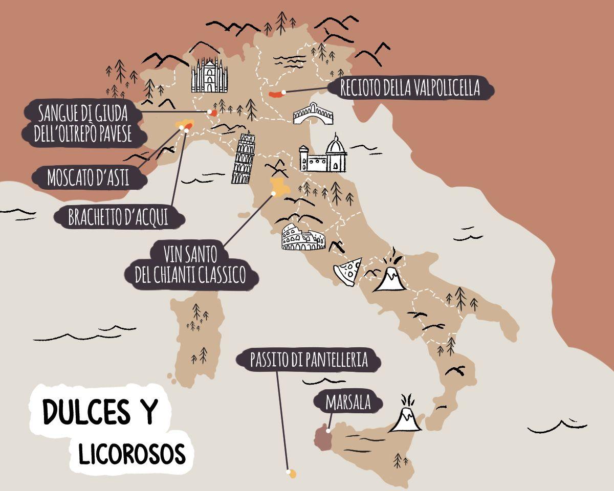 Mapa ilustrado de las principales denominaciones de vino dulce y licoroso italiano