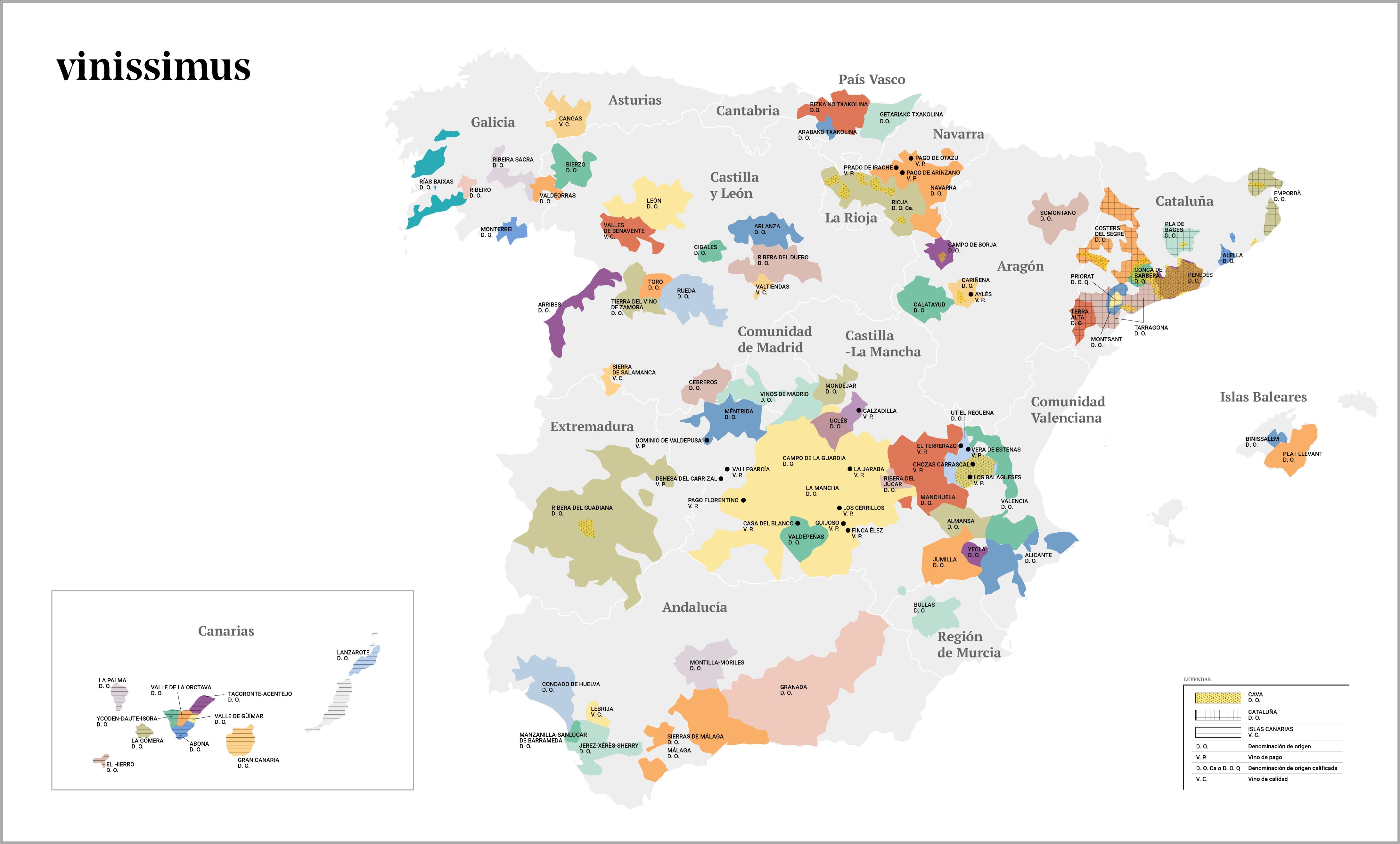 Mapa de las denominaciones de origen de España