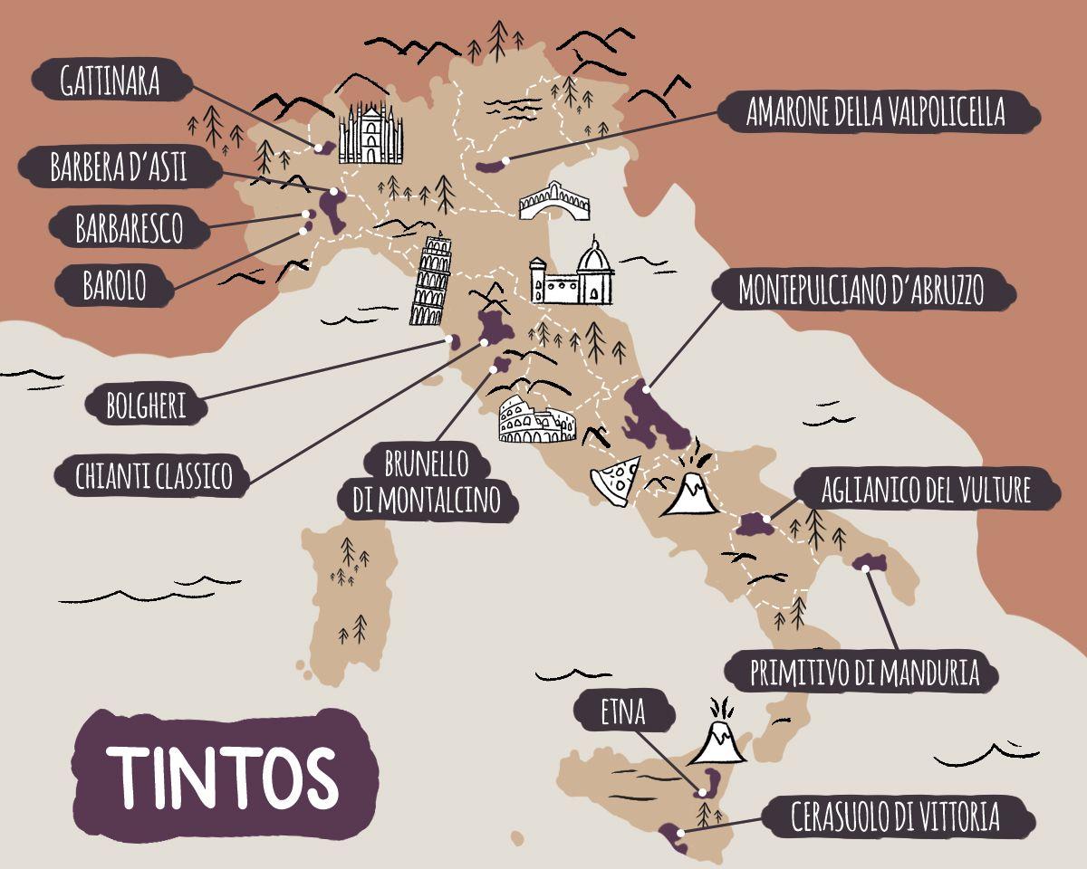 Mapa ilustrado de las principales denominaciones de vino tinto italiano