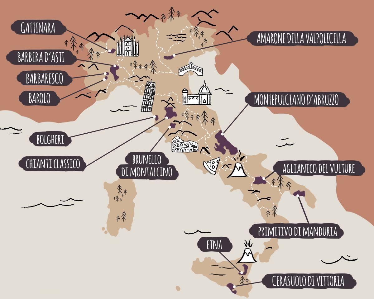 Guía básica de introducción al vino italiano