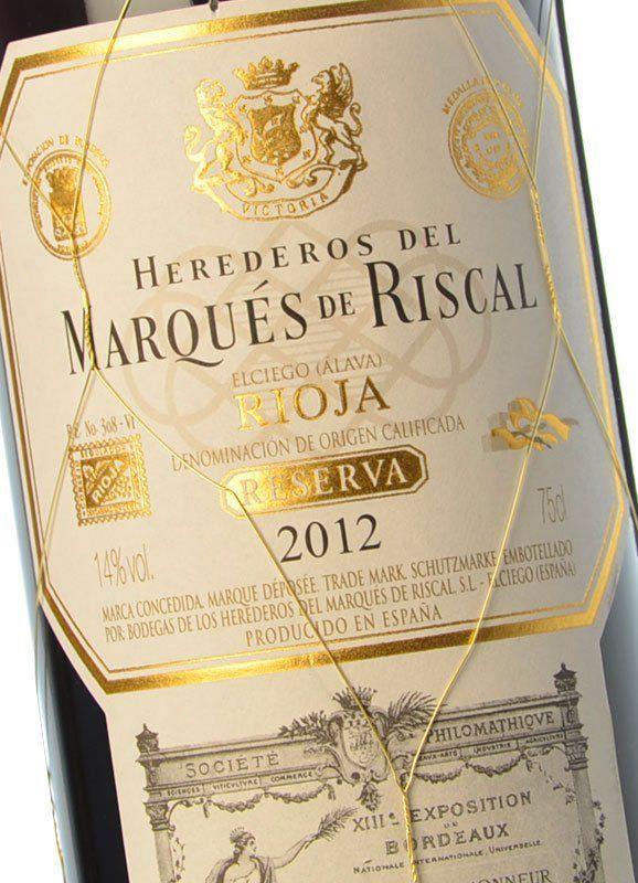 Marqu s de riscal reserva 2012 comprar vino tinto for Marques de riscal rioja