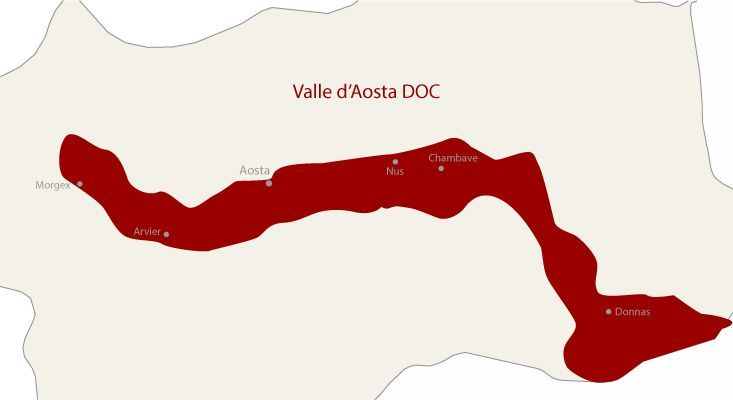 Mapa vinos Valle d'Aosta