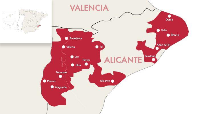 Map Of Spain Alicante Area.Alicante Red Wine