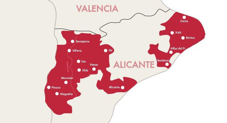 Mappa vini Alicante