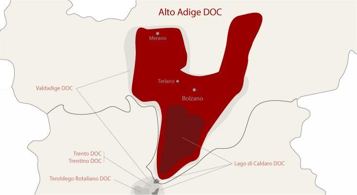 Alto Adige wines map