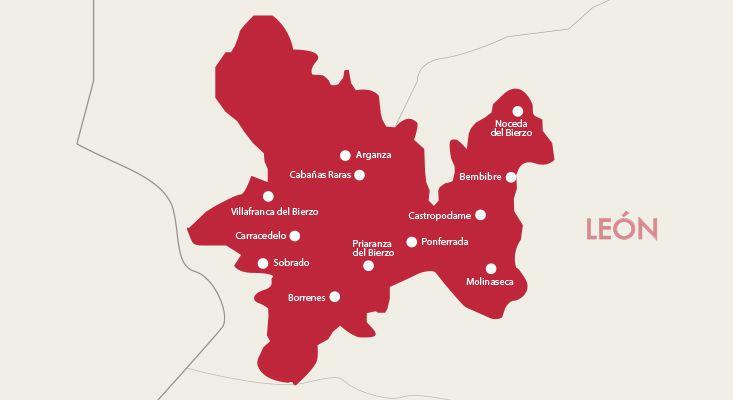 Bierzo wines map