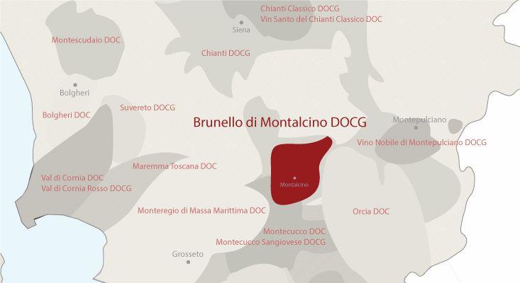 Brunello di Montalcino wines map