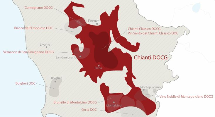 Mappa vini Chianti