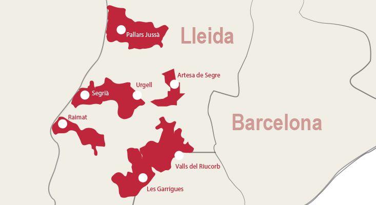 Mapa vinos Costers del Segre