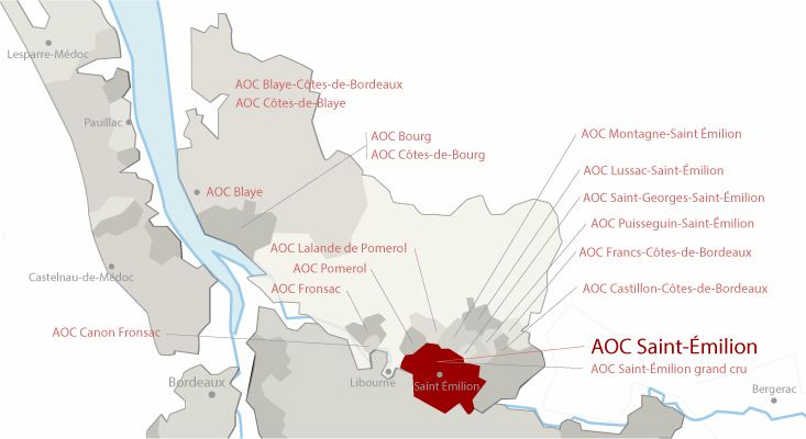 Mapa vinos Saint-Émilion