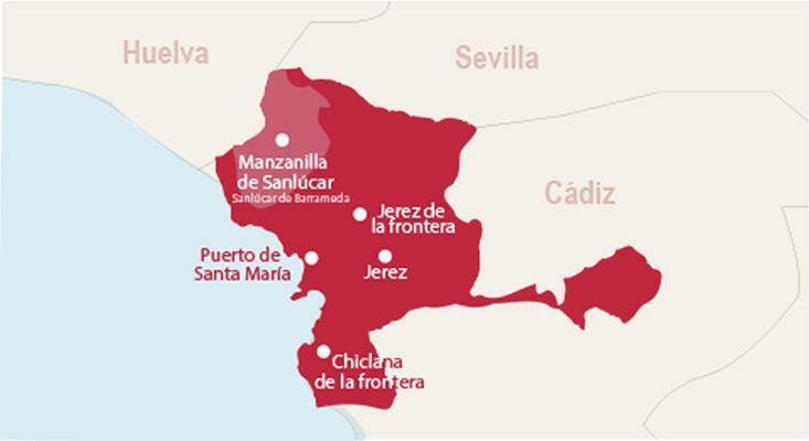 Jerez-Manzanilla wines map