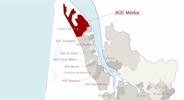 Mapa vinos Médoc