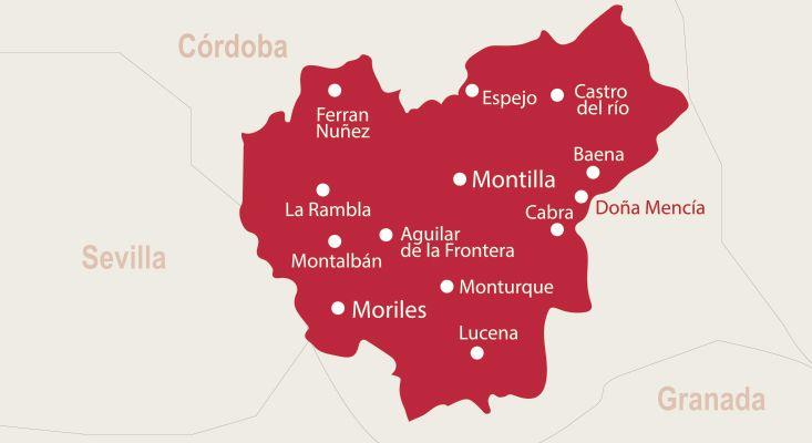 Mapa vinos Montilla-Moriles