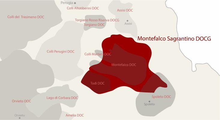 Mappa vini Montefalco Sagrantino