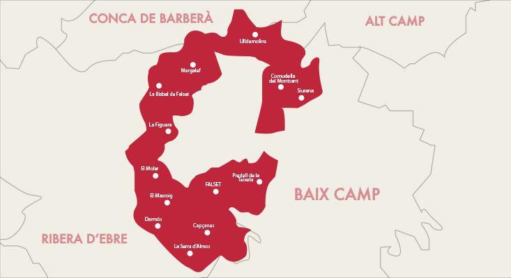 Mapa vinos Montsant