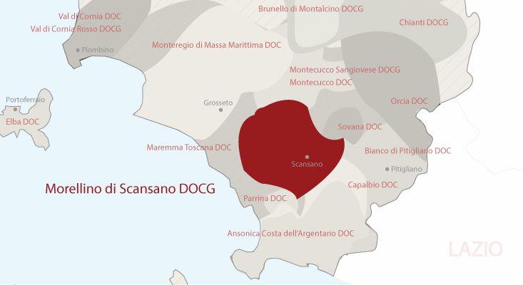 Mapa vinos Morellino di Scansano