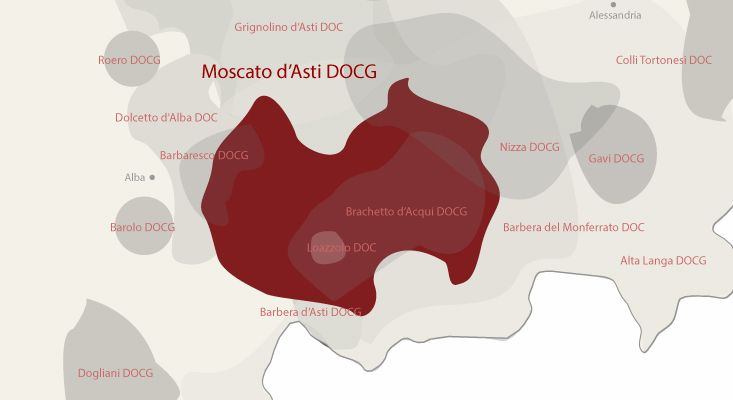 Moscato d'Asti wines map