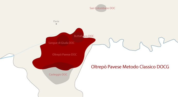 Mappa vini Oltrepò Pavese Metodo Classico