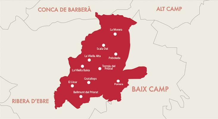 Priorat wines map