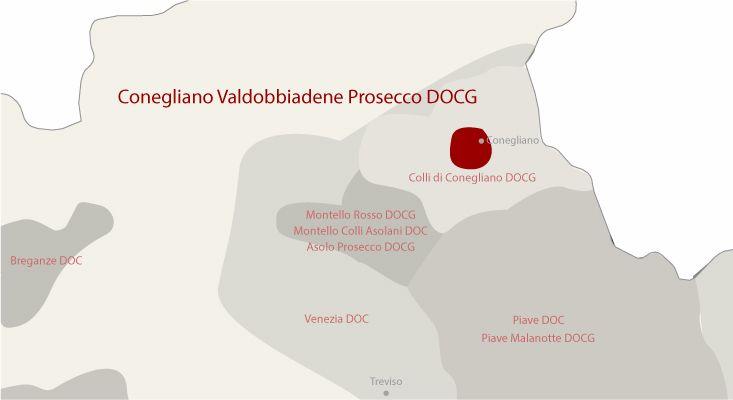 Mappa vini Conegliano-Valdobbiadene Prosecco