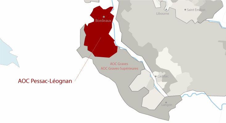 Pessac-Léognan wines map