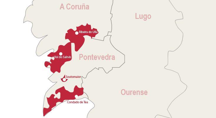 Rías Baixas wines map