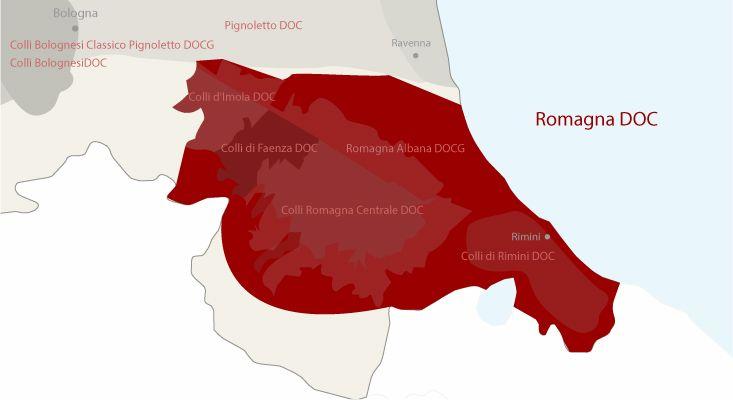 Romagna wines map