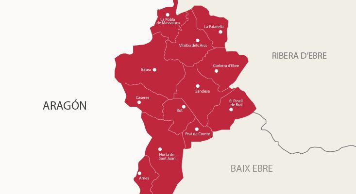 Mapa vinos Terra Alta
