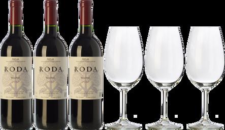 3 Roda  + 3 FREE wine glasses
