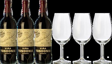 3 Tondonia Reserva + 3 Gläser als GESCHENK