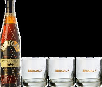 Brugal Extra Viejo + 3 Brugal's Rum Glasses